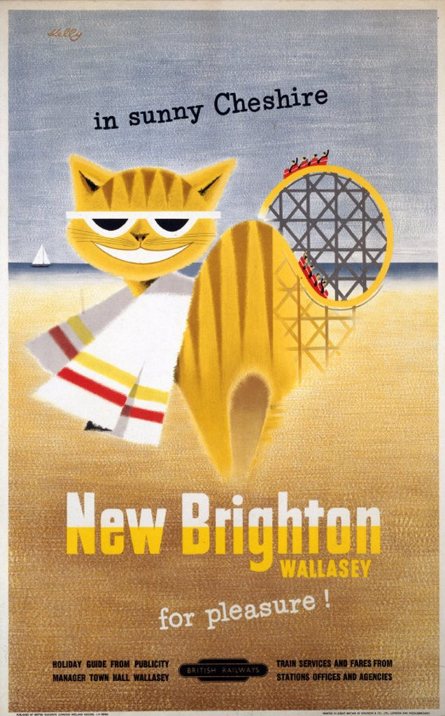 Stock Photo: 1895-1096 ´New Brighton, Wallasey, for Pleasure!',  BR (LMR) poster, 1954.