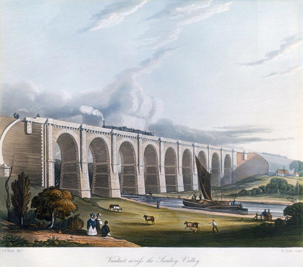 Stock Photo: 1895-11061 Viaduct across the Sankey Valley, Warrington, Cheshire, February 1831.