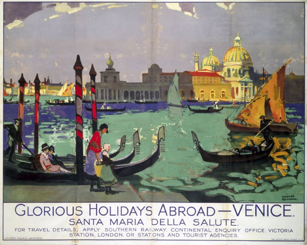 'Glorious Holidays Abroad - Venice', SR poster, 1928. : Stock Photo