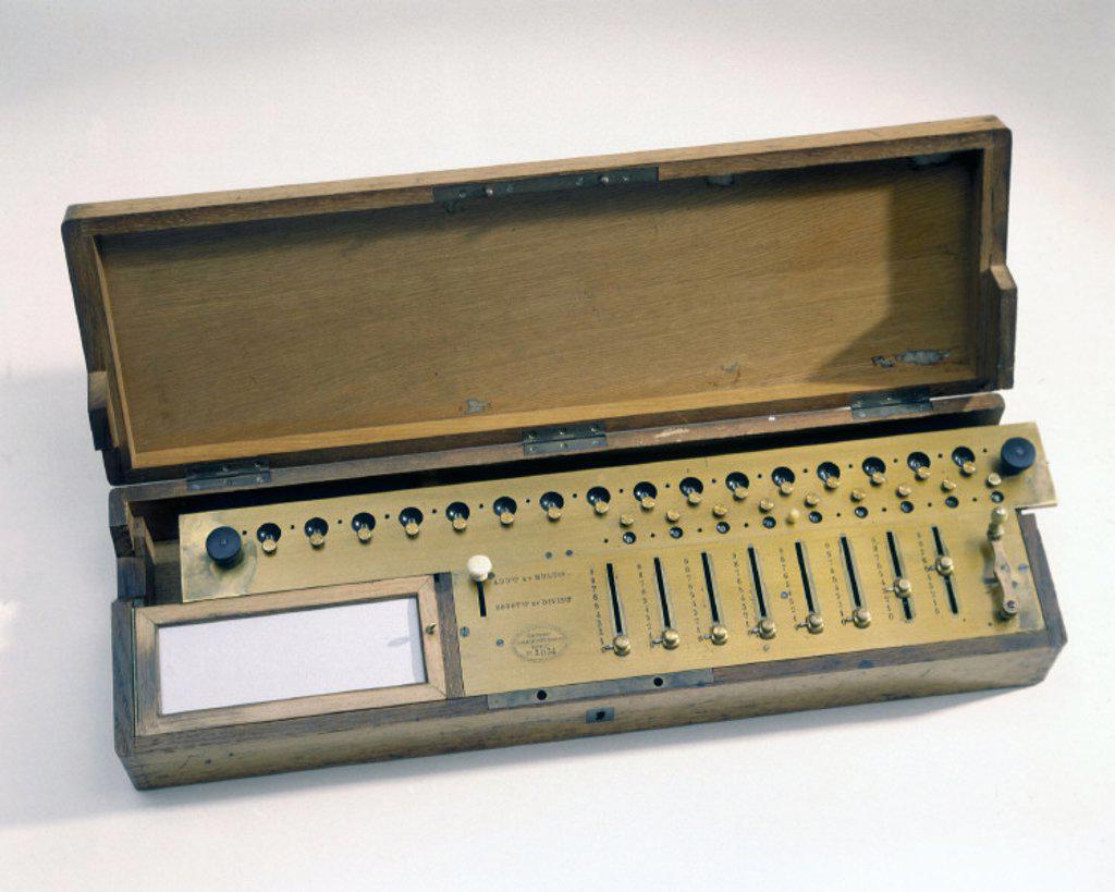Thomas De Colmar´s Arithmometer, c 1890. : Stock Photo