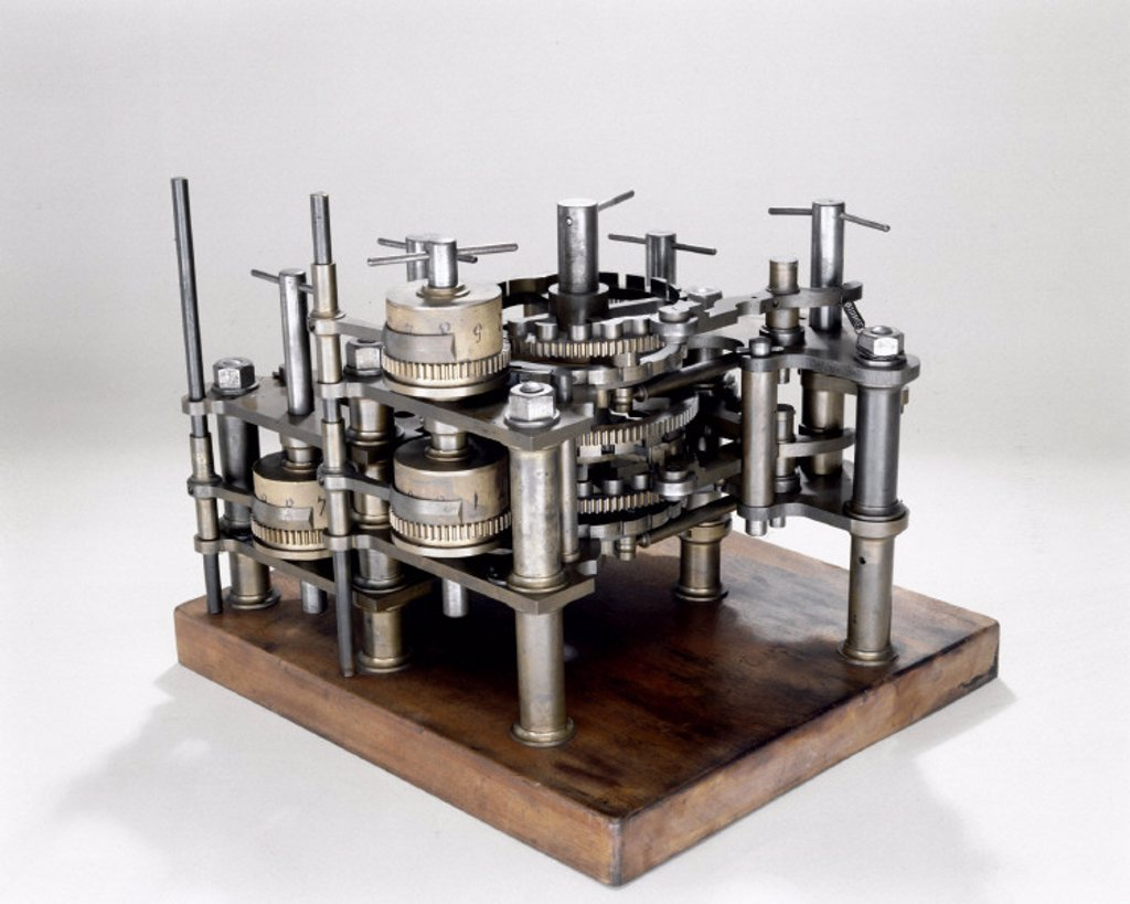 Stock Photo: 1895-11324 Demonstration model of  Babbage's Difference Engine No 1, 19th century.