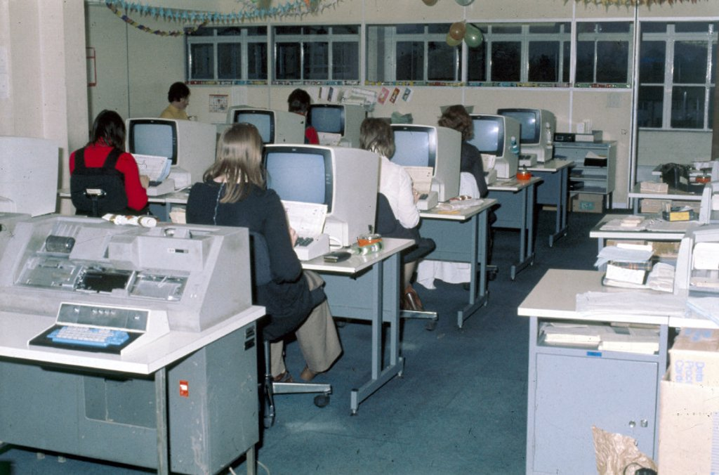 Stock Photo: 1895-11424 Data preparation at Mothercare, 1975.