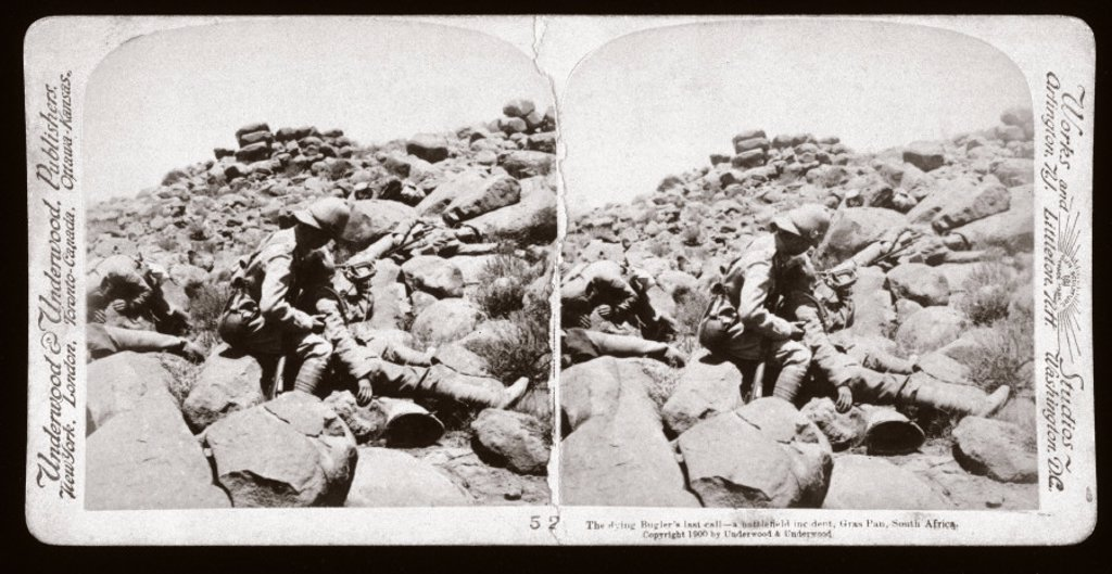 Stock Photo: 1895-11487 ´The dying Bugler´s last call - a battlefield incident, Gras Pan, South Africa', 1899.