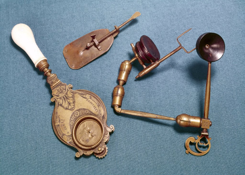 Simple microscopes, 17th century. : Stock Photo
