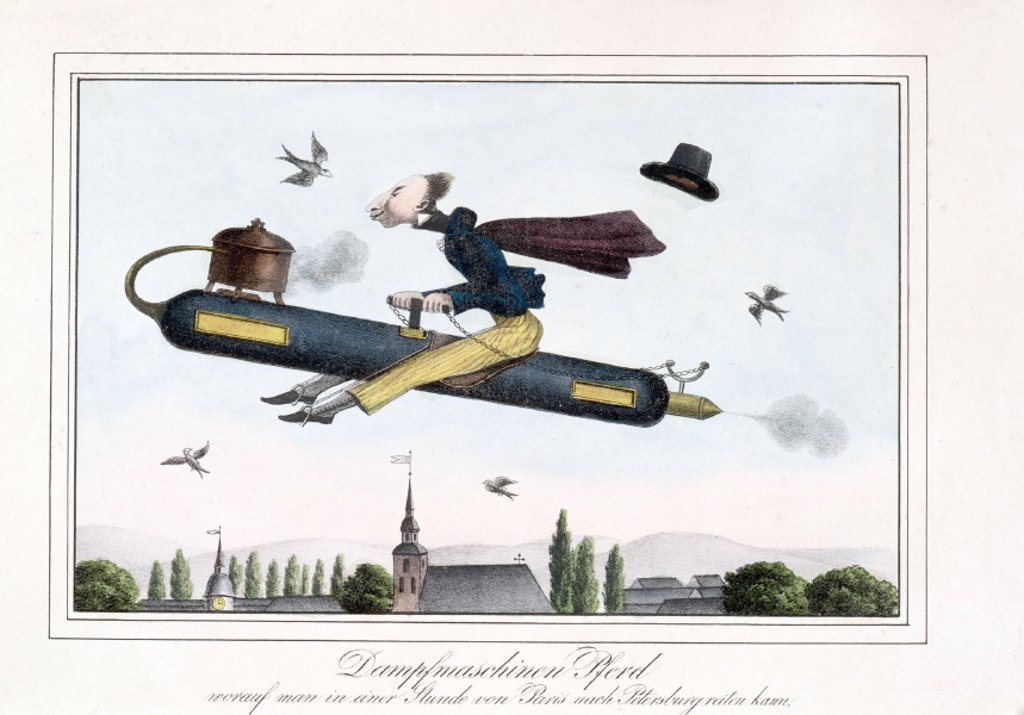 Satire on steam-powered flight, Germany, 1829-1845. : Stock Photo