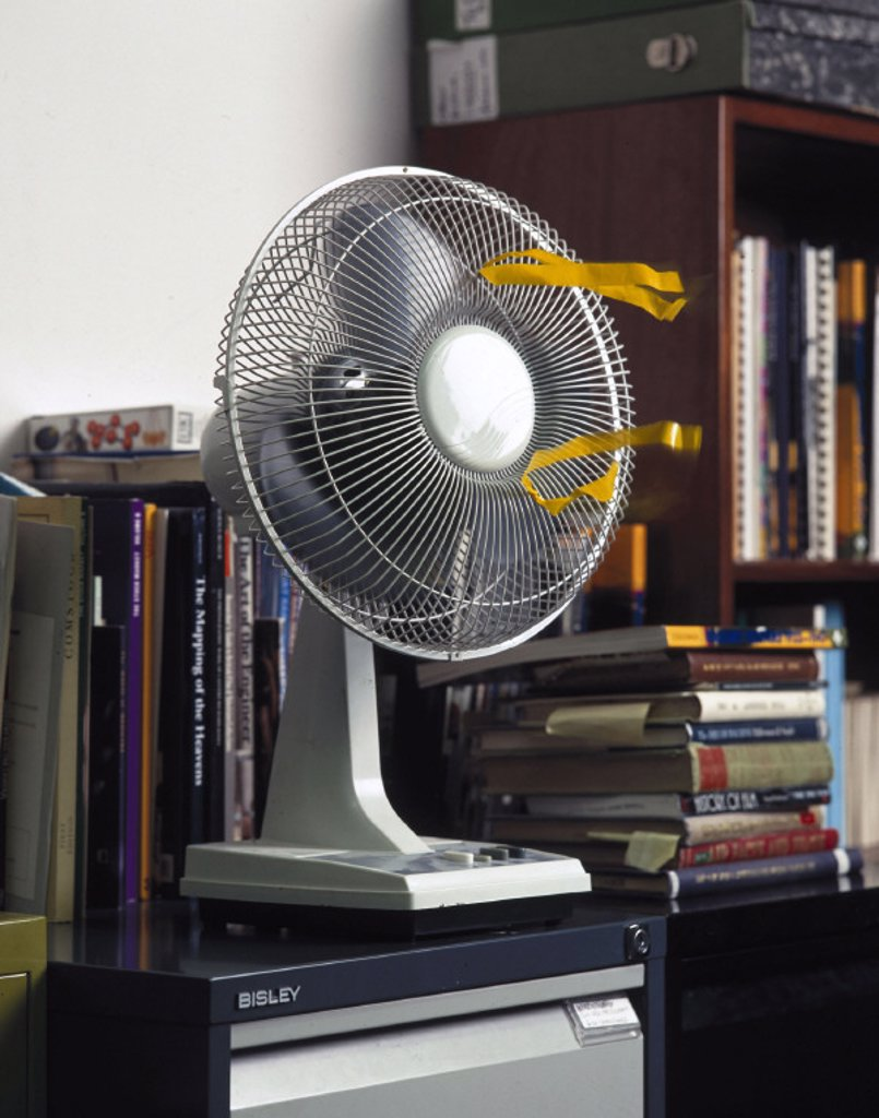Fan in front of a bookshelf, 1997. : Stock Photo