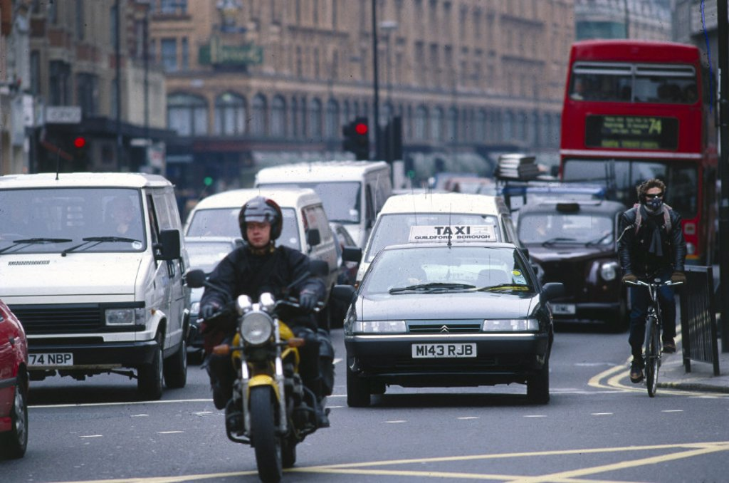 Traffic in London, 1997. : Stock Photo