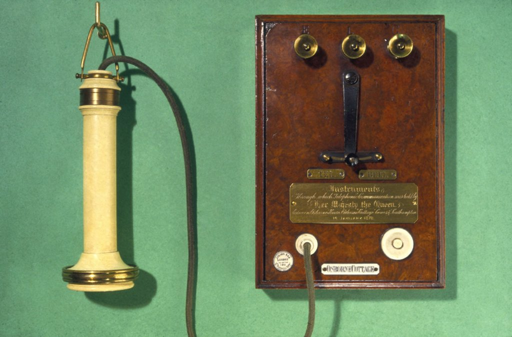 Early Bell telephone and terminal panel, 1877. : Stock Photo