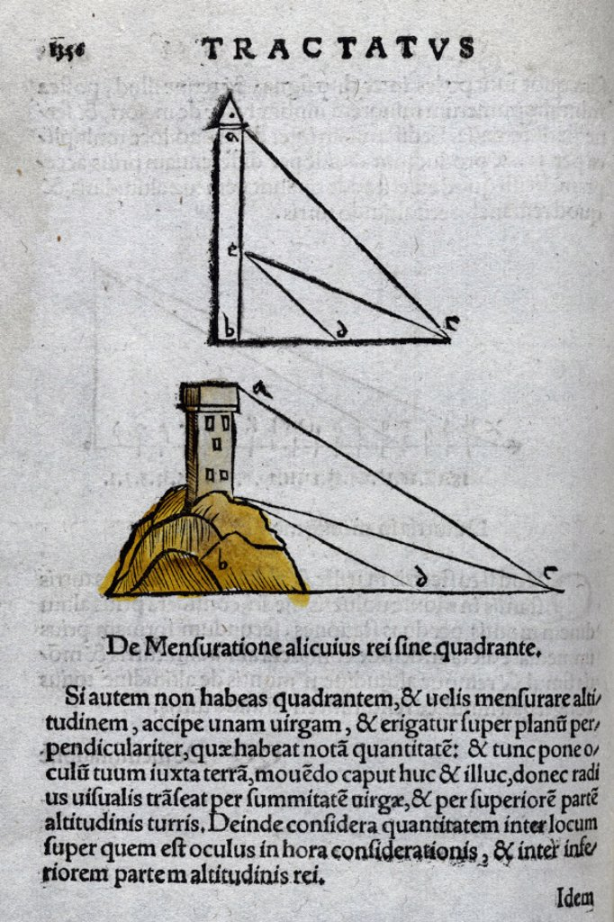 'Tractatus', the use of a quadrant to measure the height of a building, 1535. : Stock Photo