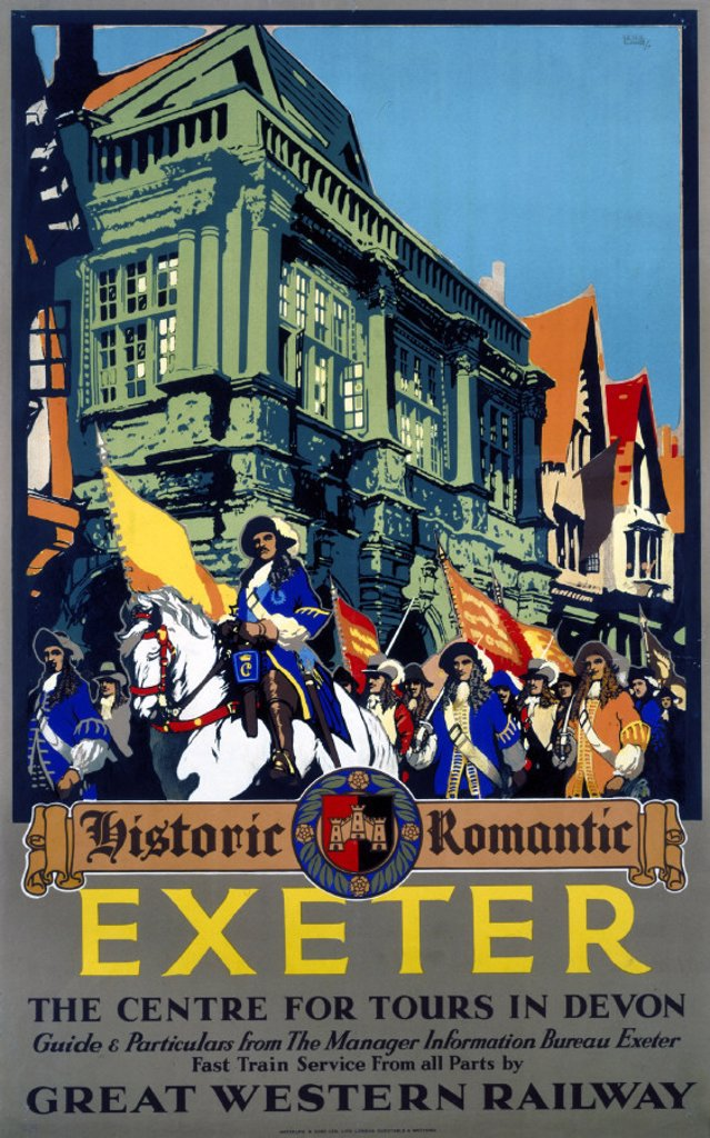 Stock Photo: 1895-1227 ´Historic Romantic Exeter', GWR poster, 1923-1947.