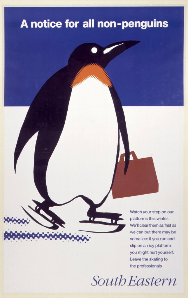 'A notice for all non-penguins´, BR poster, 1995. : Stock Photo