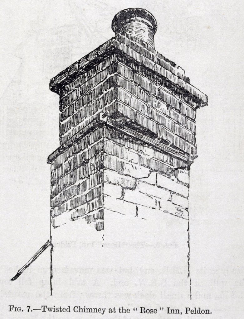 Twisted chimney of Rose Inn, Peldon, after the East Anglian earthquake, 1884. : Stock Photo
