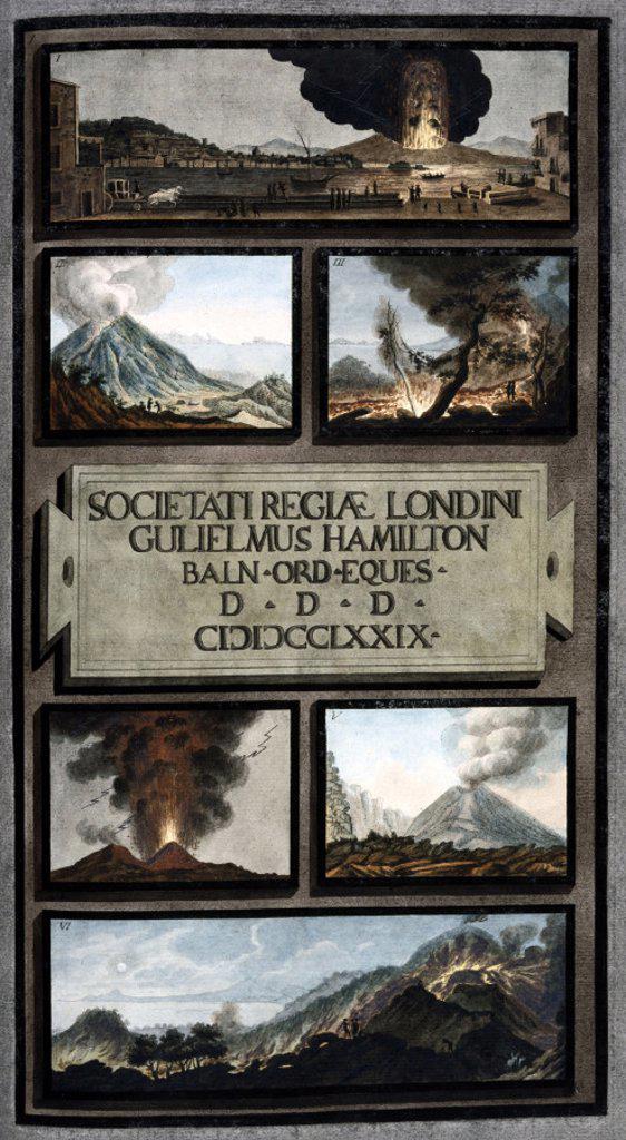 Volcanic activity on Mount Vesuvius, Kingdom of Naples, 1779. : Stock Photo