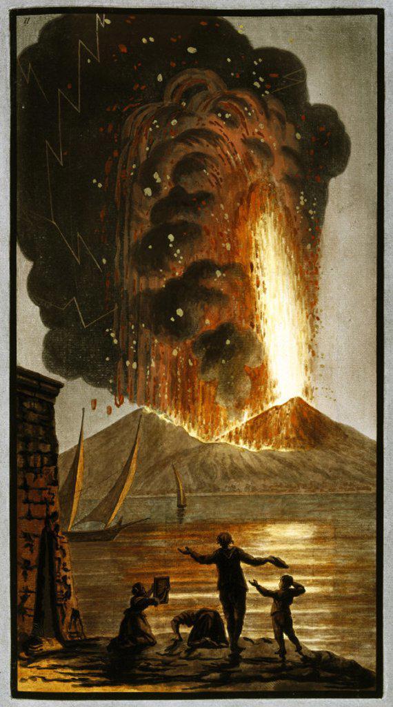 Mount Vesuvius erupting, Kingdom of Naples, 1779. : Stock Photo