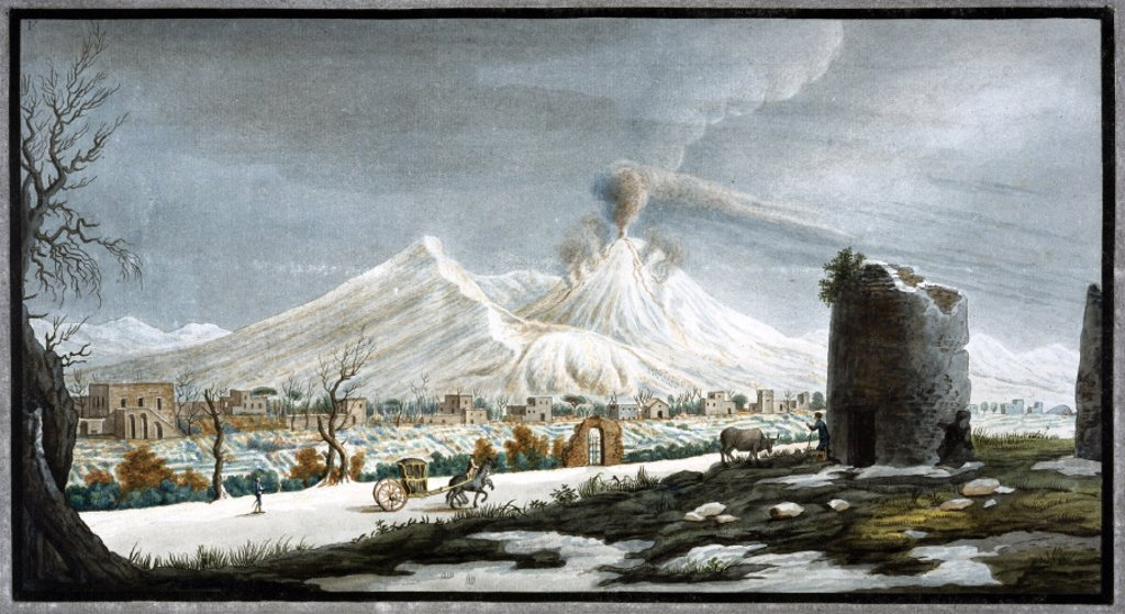 Stock Photo: 1895-12456 Mount Vesuvius erupting, Kingdom of Naples, winter 1767.
