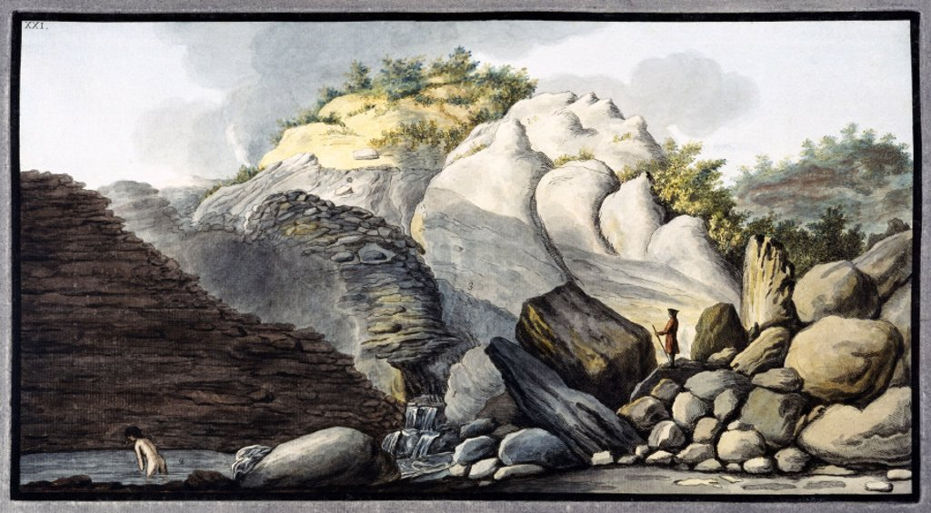 Hot spring in the Solfaterra, near Naples, Kingdom of Naples, c 1760. : Stock Photo