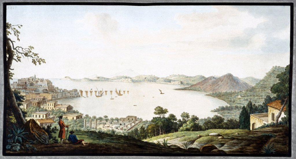 View above Puzzoli, Kingdom of Naples, c 1760. : Stock Photo