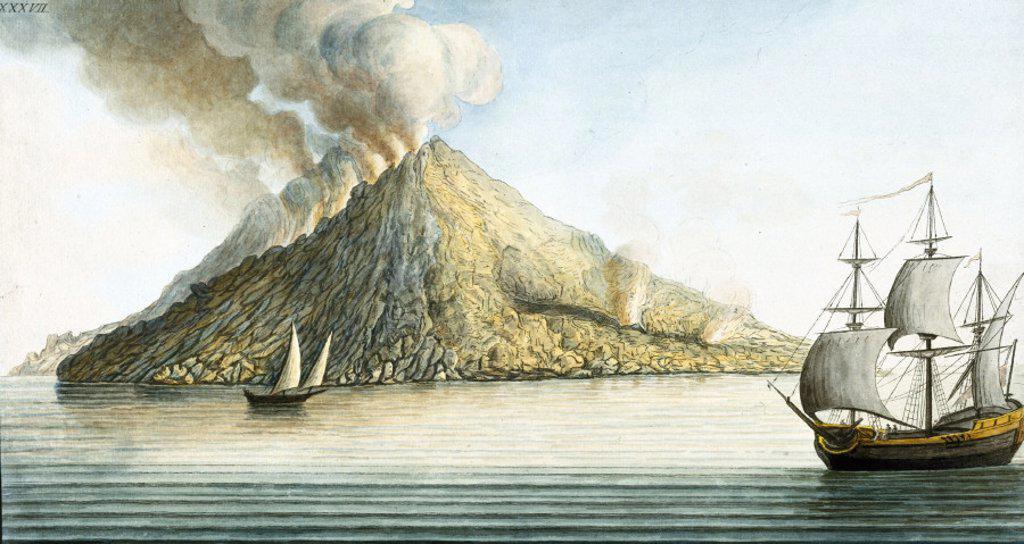 The island of Stromboli, Sicily, 1768. : Stock Photo