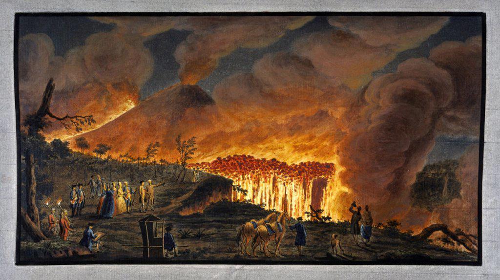 Mount Vesuvius erupting at night, Kingdom of Naples, 11 May 1771. : Stock Photo