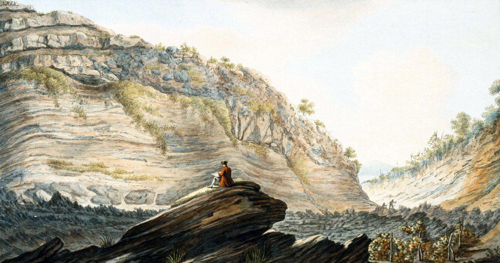 Fossa Grande, on the flanks of Mount Vesuvius, Kingdom of Naples,  c 1767. : Stock Photo
