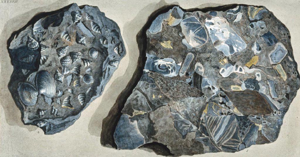Stock Photo: 1895-12528 Rock fragments from Fossa Grande, Mount Vesuvius, c 1770.