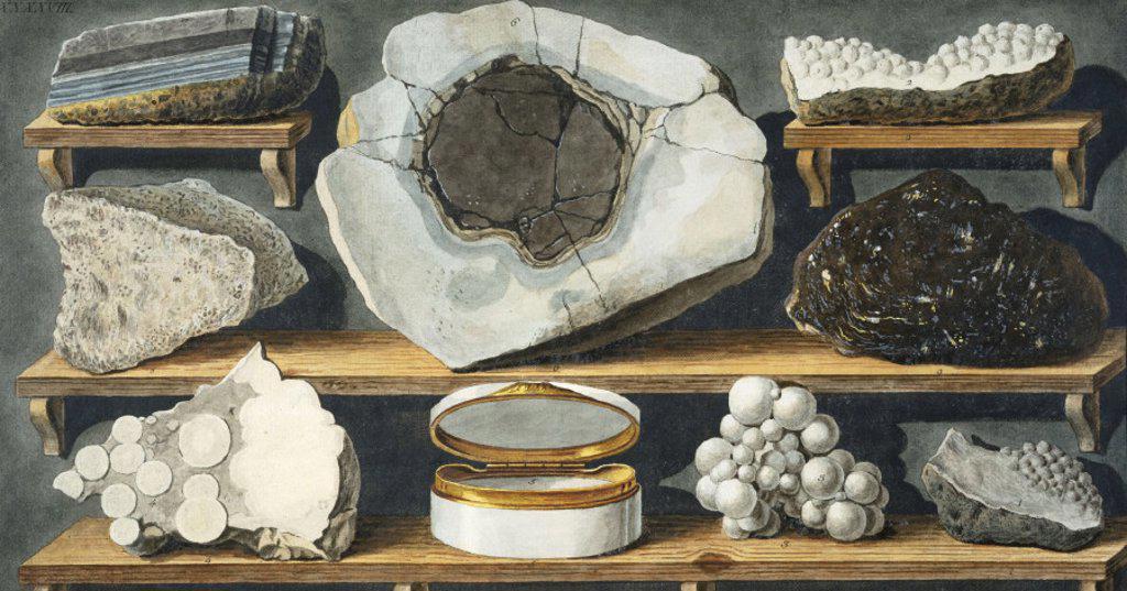 Rock fragments from Mount Vesuvius, c 1770. : Stock Photo
