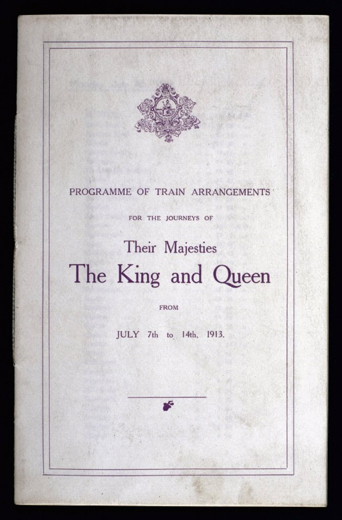 Stock Photo: 1895-12875 Programme of train arrangements for a royal tour, 1913.