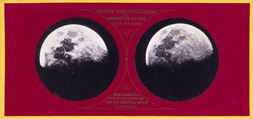 Stereoscopic photograph of the Moon, c 1855. : Stock Photo