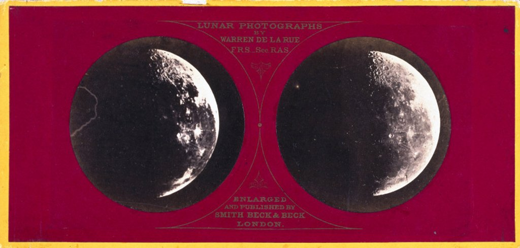 Stereoscopic photograph of the Moon, c 1855. : Stock Photo