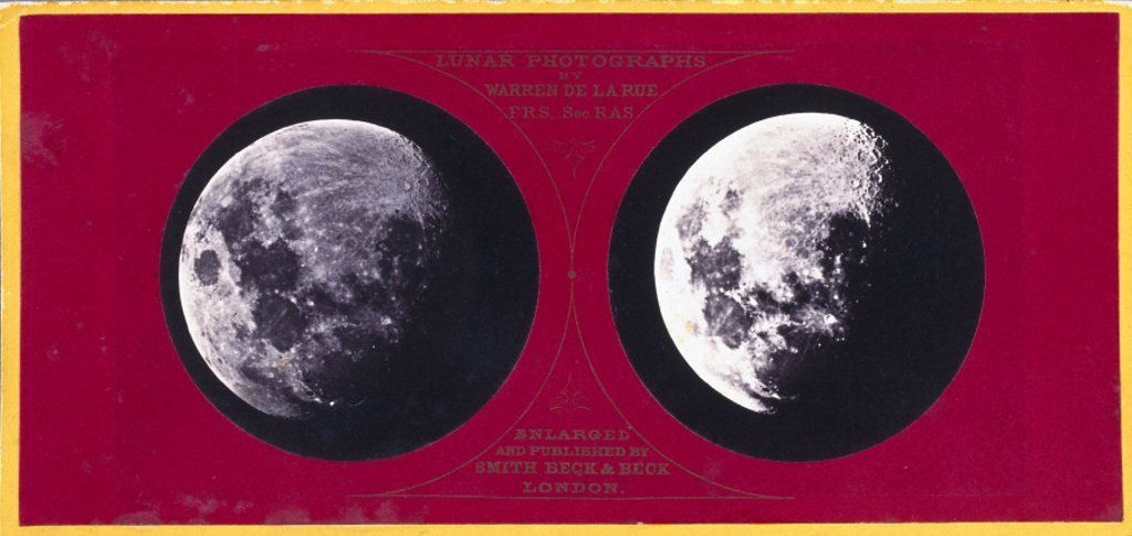 Stock Photo: 1895-12918 Stereoscopic photograph of the Moon, c 1855.
