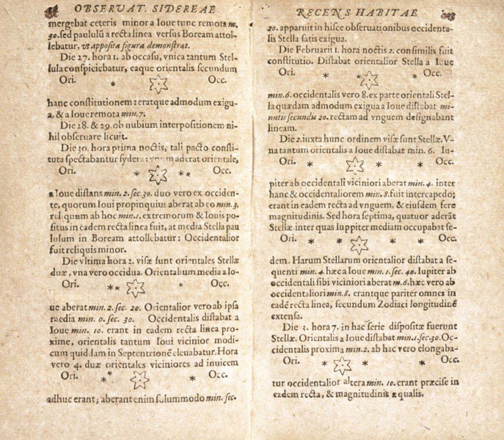 Galileo´s drawings of Jupiter´s satellites, 1610. : Stock Photo