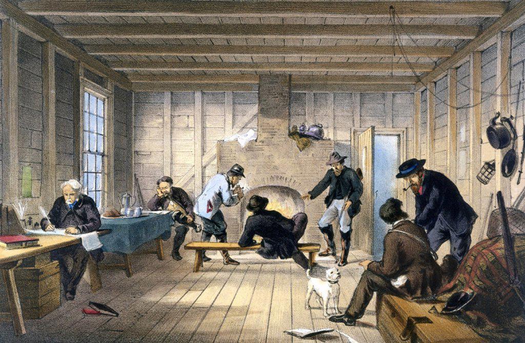 Telegraph House at Trinity Bay, Newfoundland, Canada, 1858. : Stock Photo
