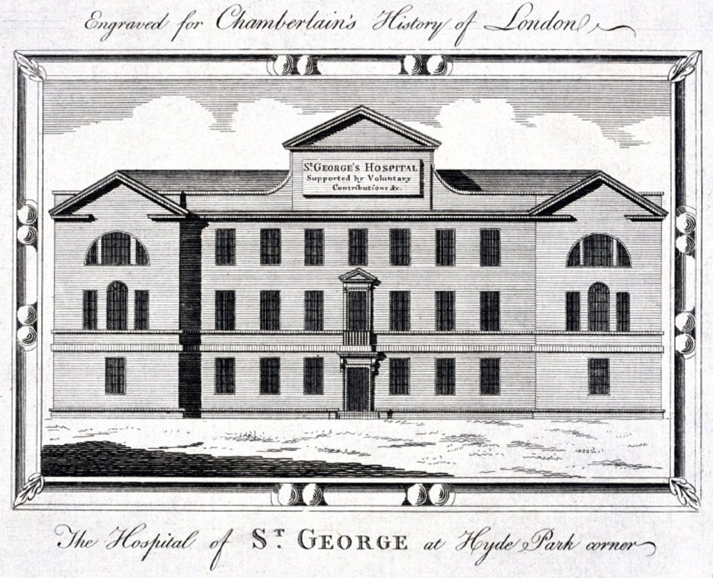 Stock Photo: 1895-13106 St George´s Hospital, Hyde Park Corner, London, c 1837.