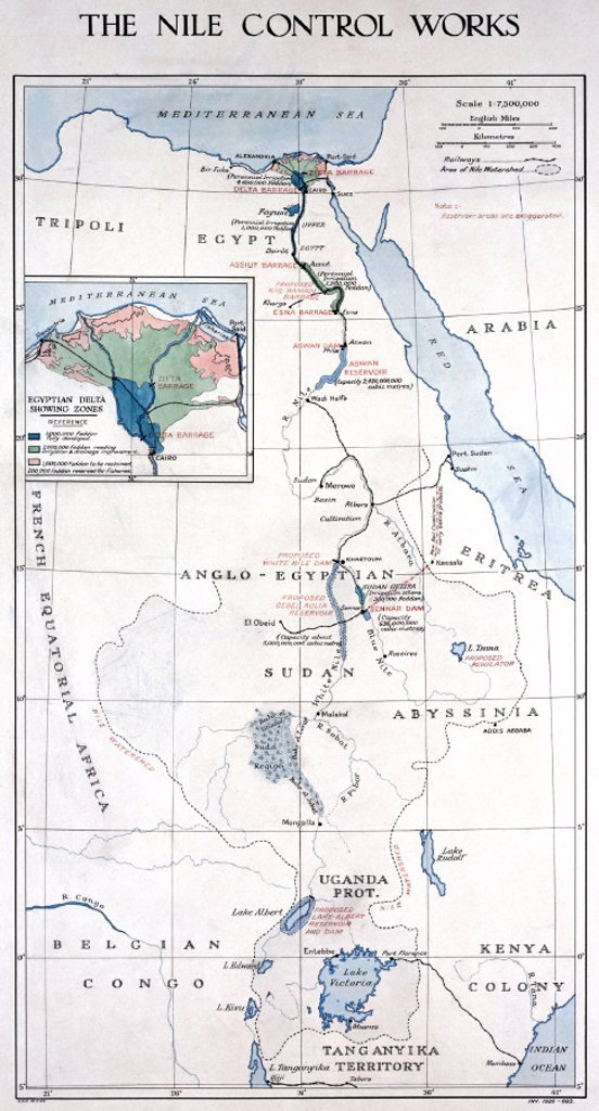´The Nile Control Works', early 1920s. : Stock Photo