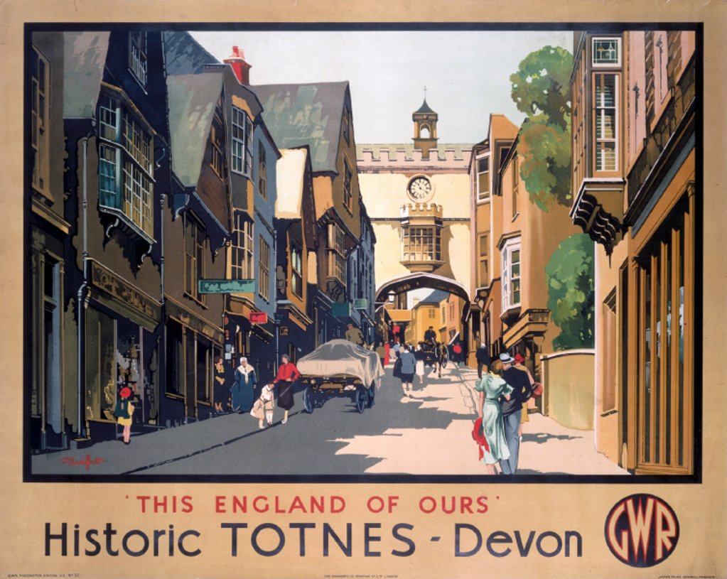´This England of Ours - Historic Totnes' GWR poster, 1923-1947. : Stock Photo