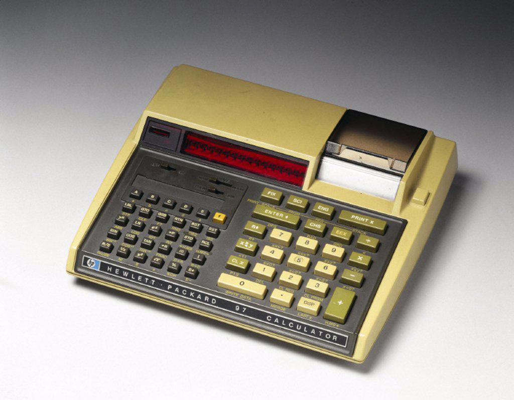 Hewlett Packard HP 97 electronic desktop printing calculator, c 1977. : Stock Photo