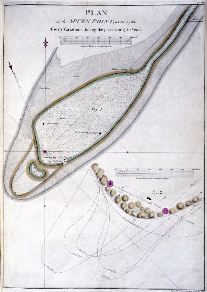 'Plan of the Spurn Point' lighthouse, River Humber, 1786. : Stock Photo