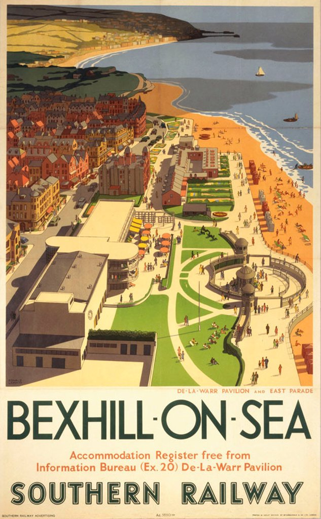 SR poster. Bexhill-on-Sea, SR poster, 1947. : Stock Photo