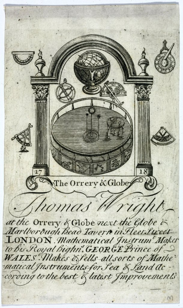 Thomas Wright´s trade card, instrument maker, c early 18th century. : Stock Photo