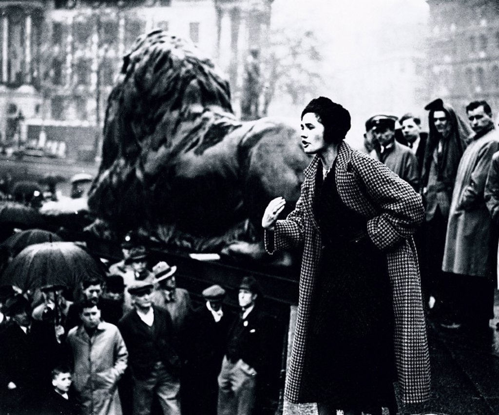 Stock Photo: 1895-13711 Jennie Lee speaking at the Busmen´s Mass Meeting, London, 9 May 1937.