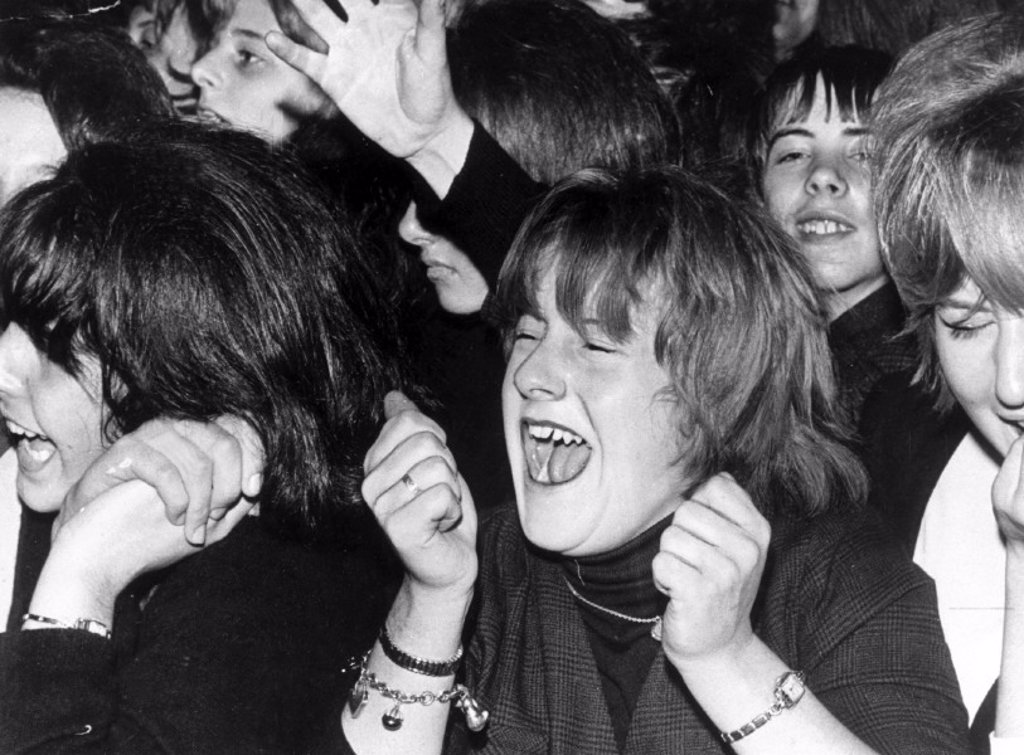 Fans screaming at a Beatles concert, Southport, Lancashire, 1963. : Stock Photo