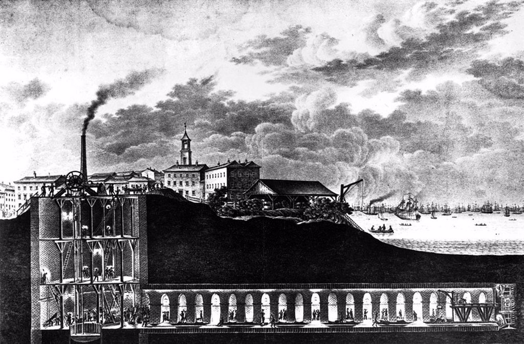 The Thames Tunnel, London, before 1843 : Stock Photo