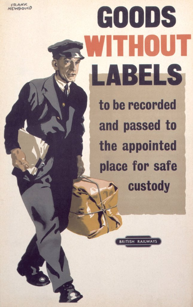 Stock Photo: 1895-1399 ´Goods without Labels´, BR staff poster, 1947-1951.