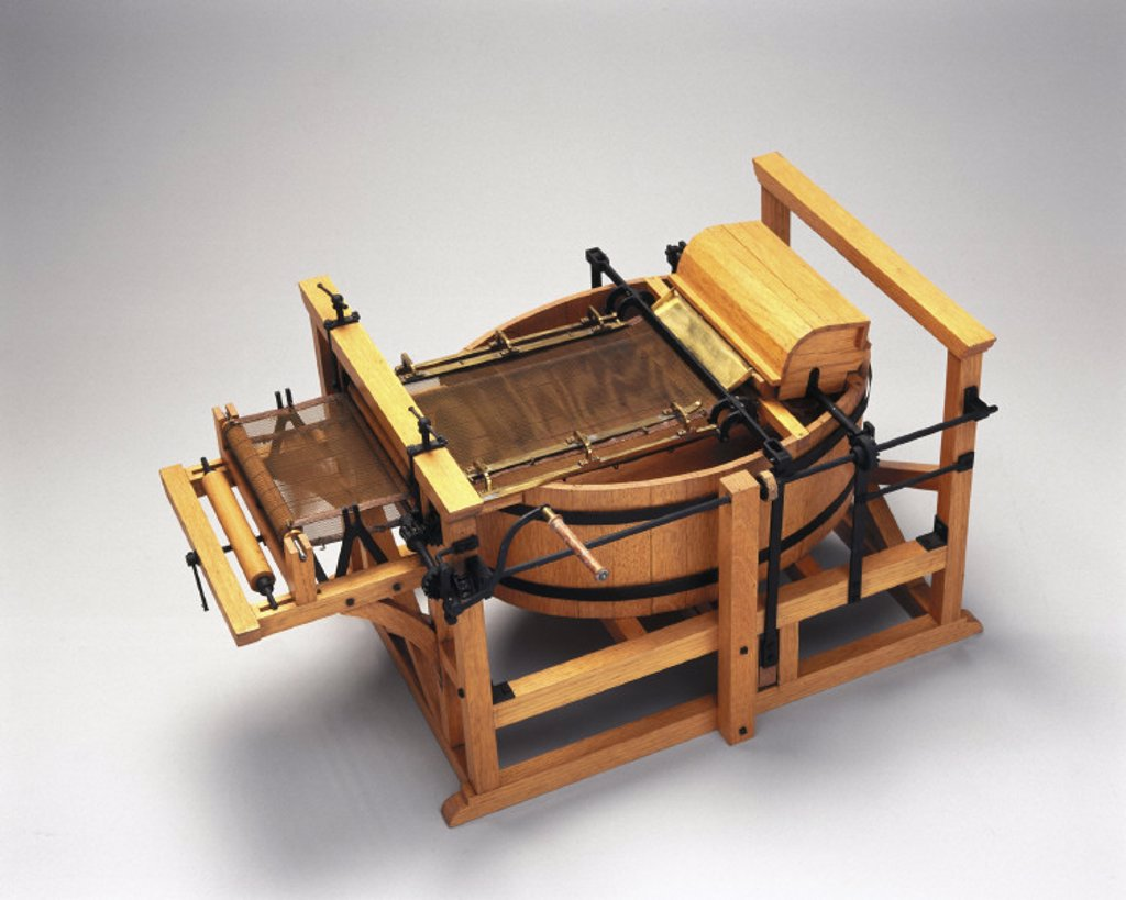 Robert's paper-making machine, 1798. : Stock Photo