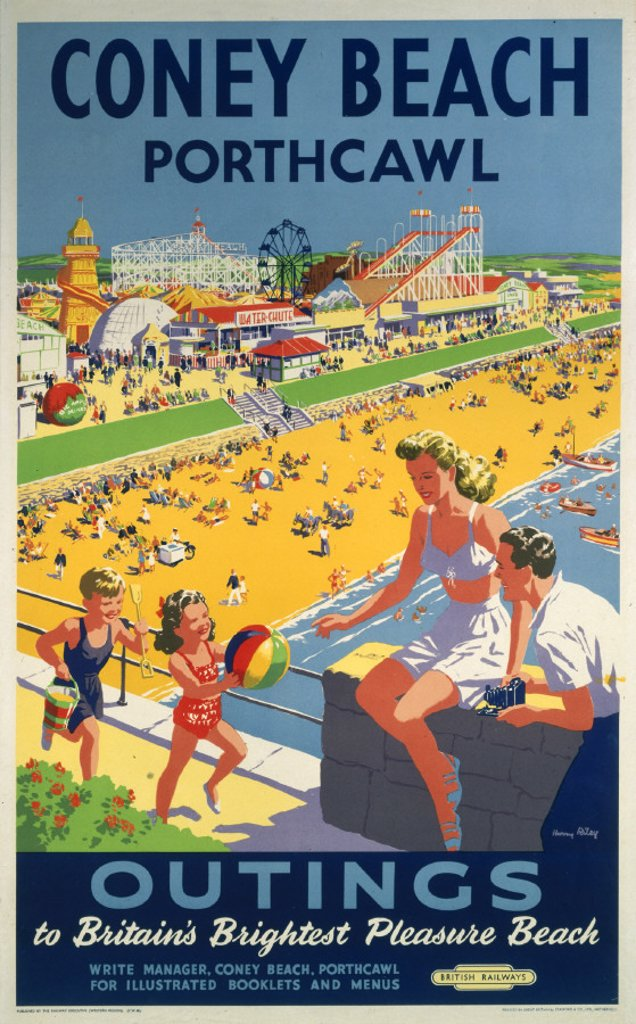 ´Coney Beach, Porthcawl', BR poster, 1948-1965. : Stock Photo