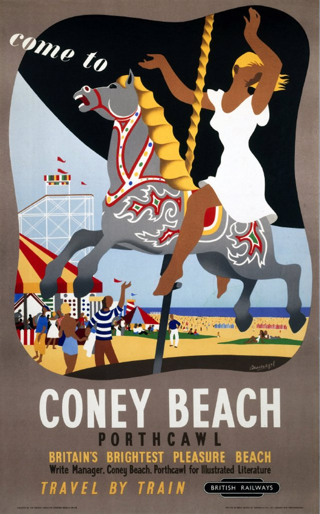 Stock Photo: 1895-1453 ´Come to Coney Beach, Porthcawl´, BR (WR) poster, 1948-1965.