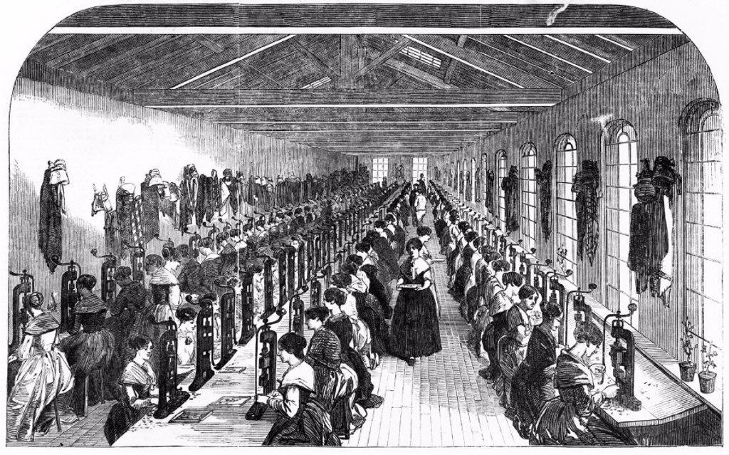 Stock Photo: 1895-14539 The Slitting Room of Birmingham Pen Factory, 1851.