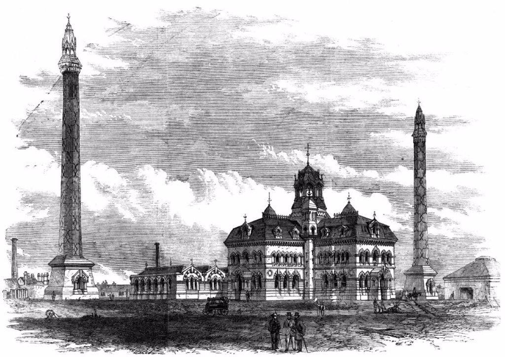 Stock Photo: 1895-14541 Bazalgette´s Abbey Mills Pumping Station,  Stratford, London, 1868.