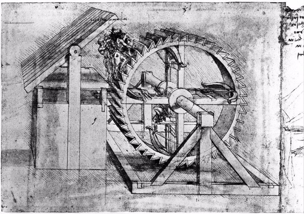 Stock Photo: 1895-14697 Treadmill-loaded crossbow by Leonardo da Vinci,  1470-1520.