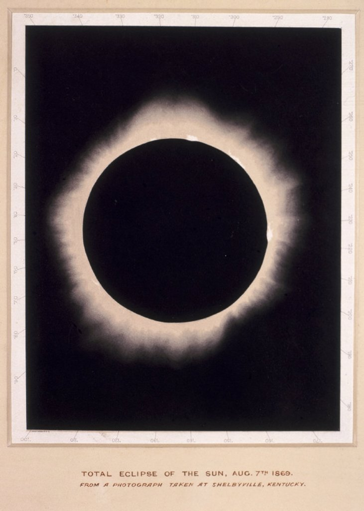 Eclipse of the Sun, 7th August 1869. : Stock Photo